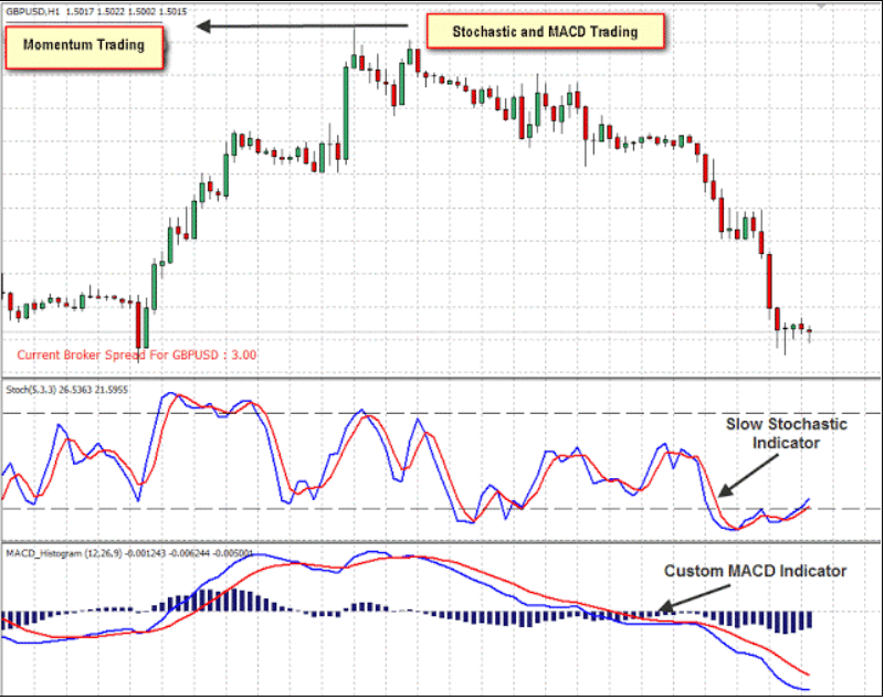 Momentum with Stochastic and MACD Trading System