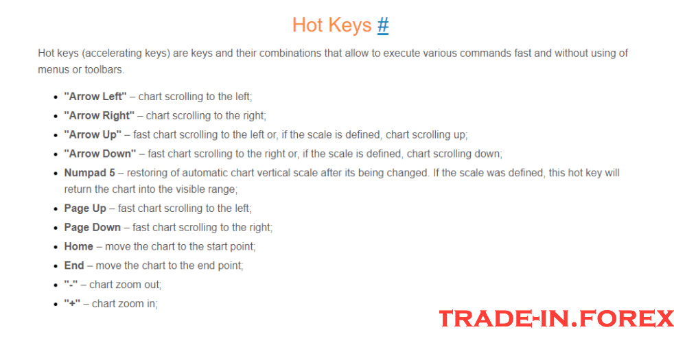 MT4 hot keys