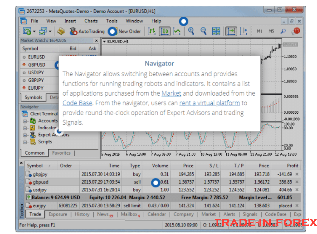 Metatrader 5 managed from the Navigator