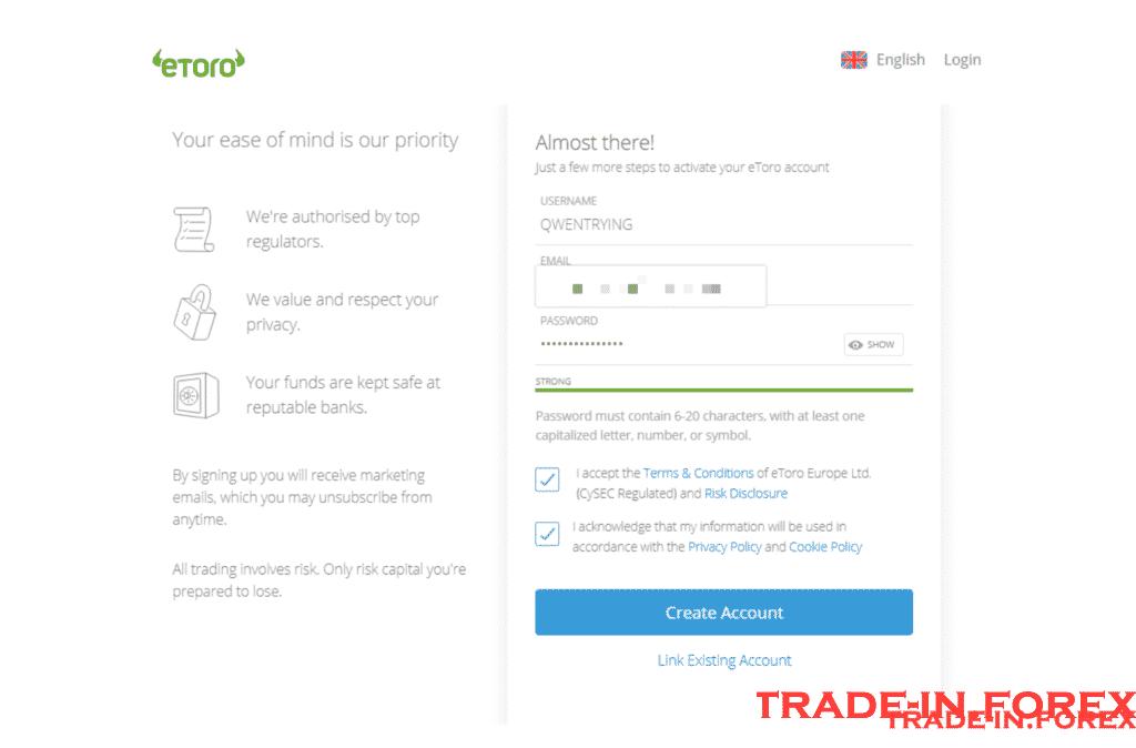 Create an Demo Account eToro