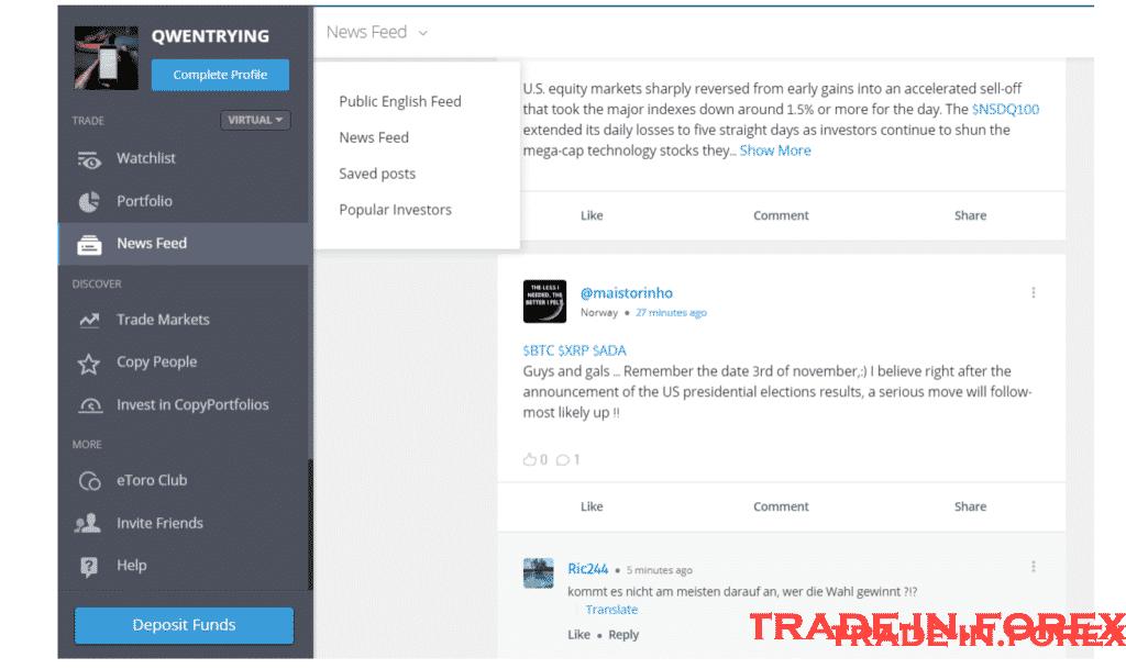 Trade on eToro news feed