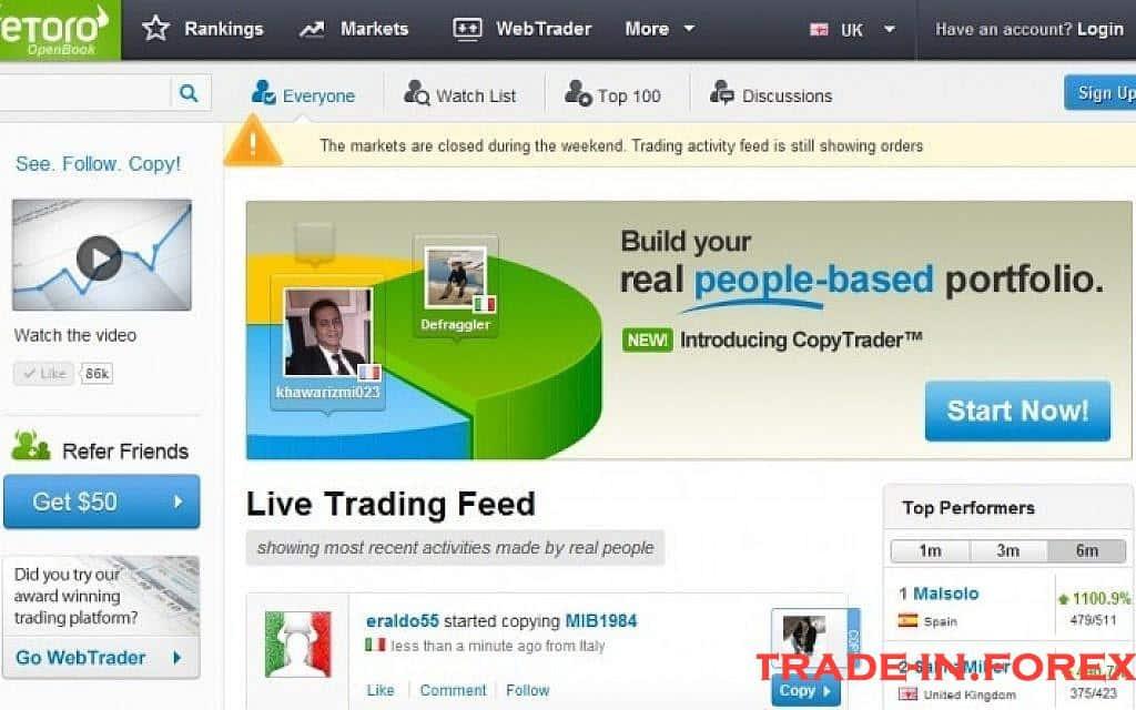 Página inicial da plataforma de negociação social eToro Openbook